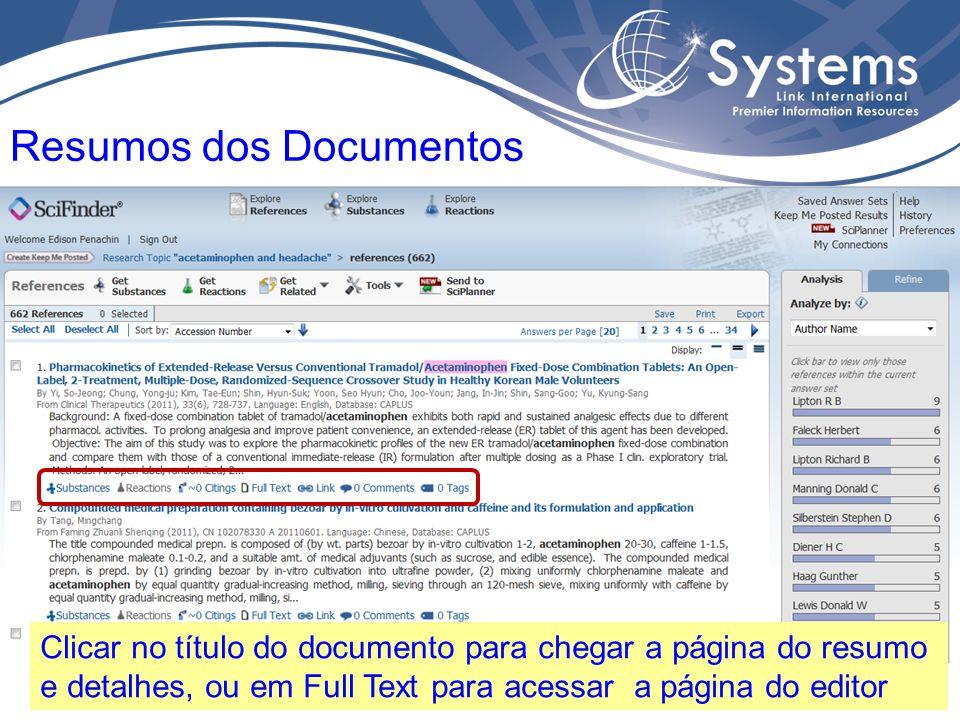 Detalhes do documento, informações bibliográficas, etc. Resumos do Documento