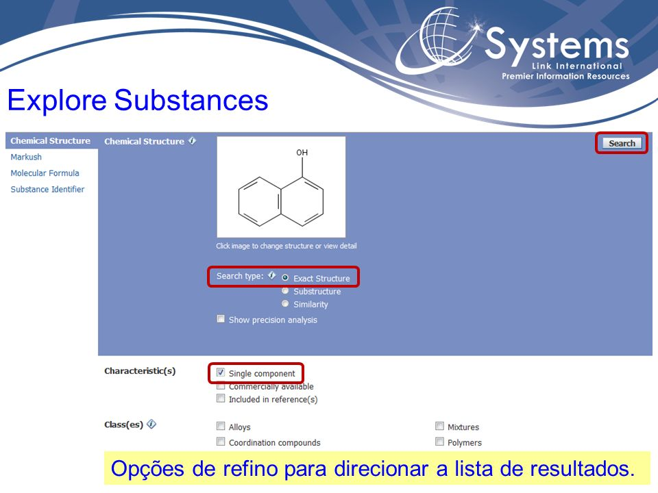 Página de resultados com ferramentas de análises e de refino. Resultados - Explore Substances