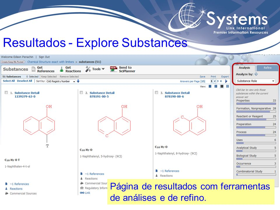 A partir do resultado é possível acessar: 1.Detalhes da Substância 2.Documentos sobre a Substância 3.Reações da substância 4.Fabricantes e Fornecedores 5.Assuntos Regulatórios Resultados - Explore Substances