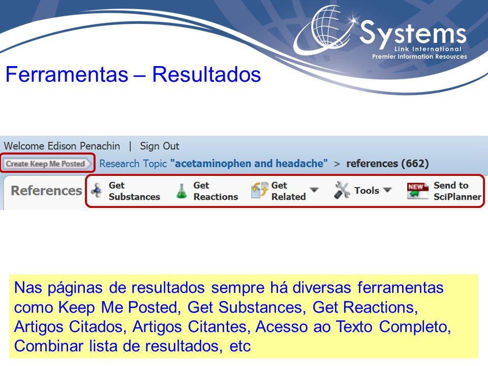 Nas páginas de resultados é possível Salvar, Imprimir ou Exportar a lista completa de resultados, ou aqueles selecionados.