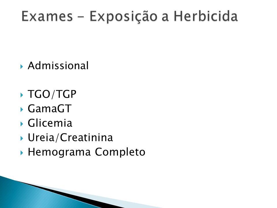 Periódico – A cada 06 meses TGO/TGP GamaGT Glicemia Ureia/Creatinina Hemograma Completo