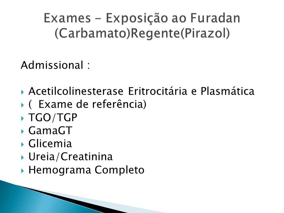 Periódicos NR7 A CADA 60 DIAS: contaminação aguda Acetilcolinesterase Plasmática A CADA 180 DIAS: contaminação crônica Acetilcolinesterase Eritrocitária