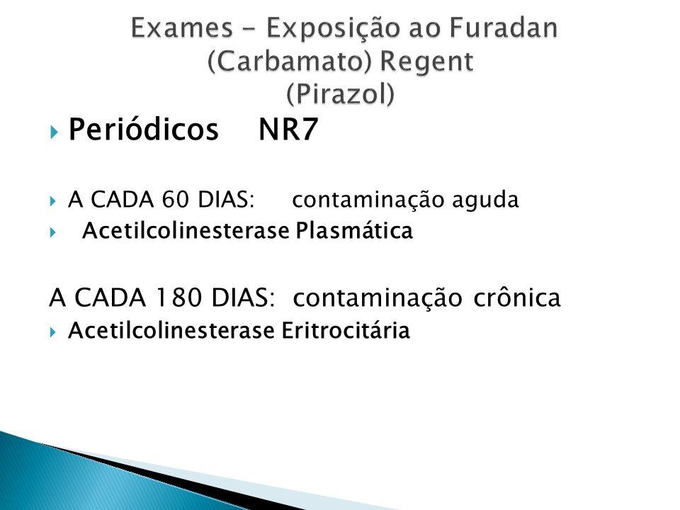DEMISSIONAL E MUDANÇA DE FUNÇÃO (Repetir os exames da admissional) Acetilcolinesterase Eritrocitária e Plasmática TGO/TGP GamaGT Glicemia Ureia/Creatinina Hemograma Completo