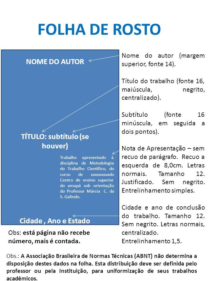 CÁLIDON COSTA DA CONCEIÇÃO AULA DE METODOLOGIA CIENTÍFICA: capa, folha de rosto, sumário.