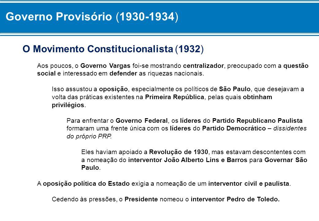 Governo Provisório (1930-1934) Mas essa medida não silenciou a oposição, que também exigia novas eleições e a convocação de uma Assembléia Constituinte.
