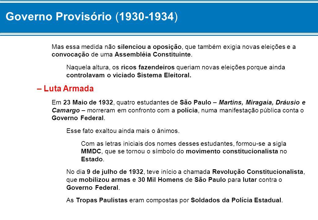 Governo Provisório (1930-1934) Muitas indústria do estado contribuíram com a fabricação de material de guerra, como granadas, máscara contra gases, lança-chamas e capacetes.
