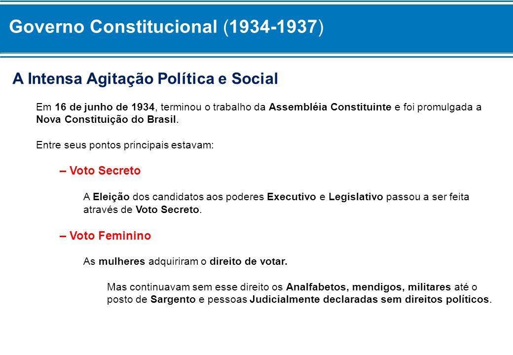 Governo Constitucional (1934-1937) – Justiça Eleitoral Foi criada uma Justiça Eleitoral Independente para zelar pelas Eleições.