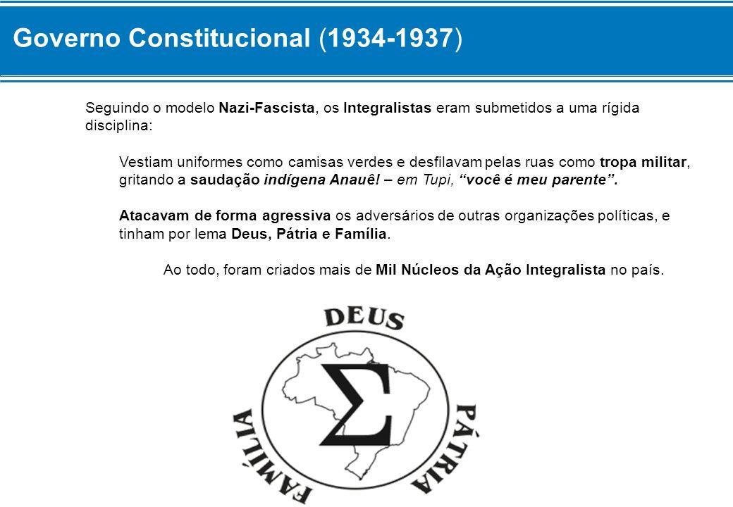 Governo Constitucional (1934-1937) – Aliança Nacional Libertadora Uma das principais frentes políticas contrárias ao Integralismo era a Aliança Nacional Libertadora – ANL – cujos membros eram chamados de Aliancistas.
