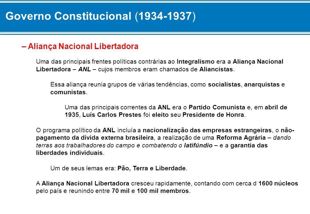 Governo Constitucional (1934-1937) O Governo de Vargas – apoiado pelos grupos políticos conservadores – considerou a ANL ilegal em junho de 1935 e ordenou a prisão de seus líderes, alegando que tinham a intenção de promover um Golpe de Estado para Derrubar o Governo.