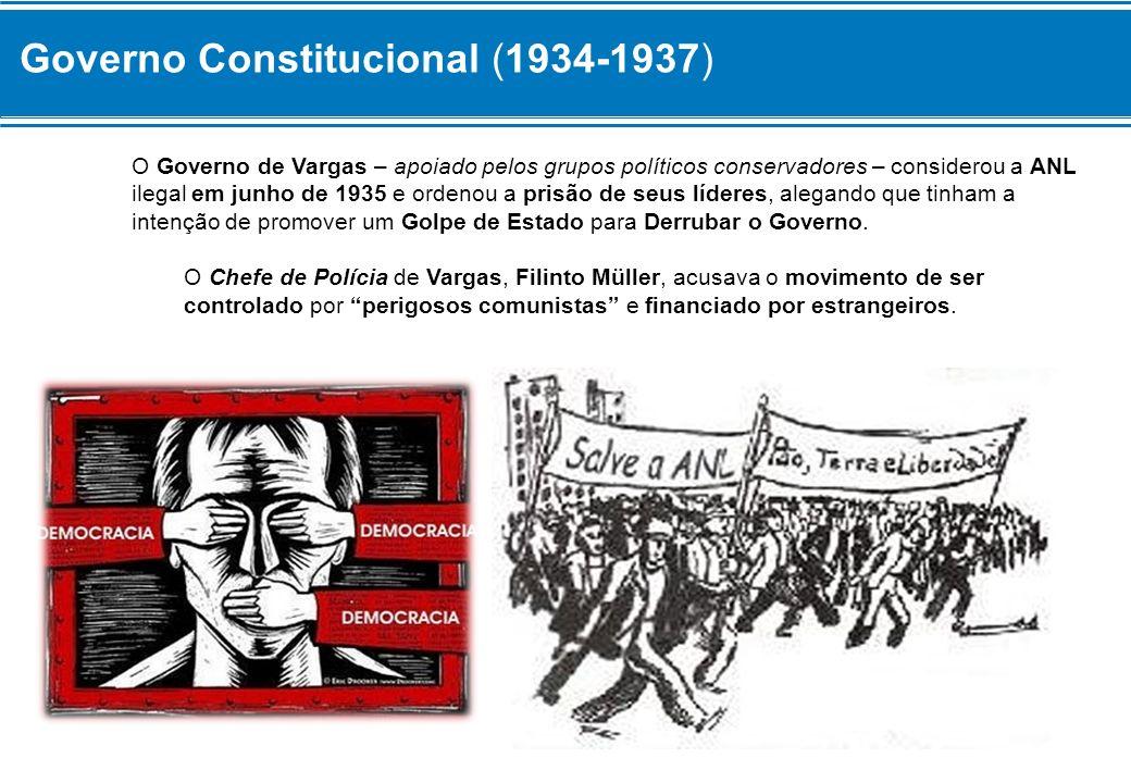Governo Constitucional (1934-1937) – A Intentona Comunista (1935) Diante da repressão, os Comunistas que participavam da Aliança Nacional Libertadora planejaram uma Revolta Militar contra o Governo.