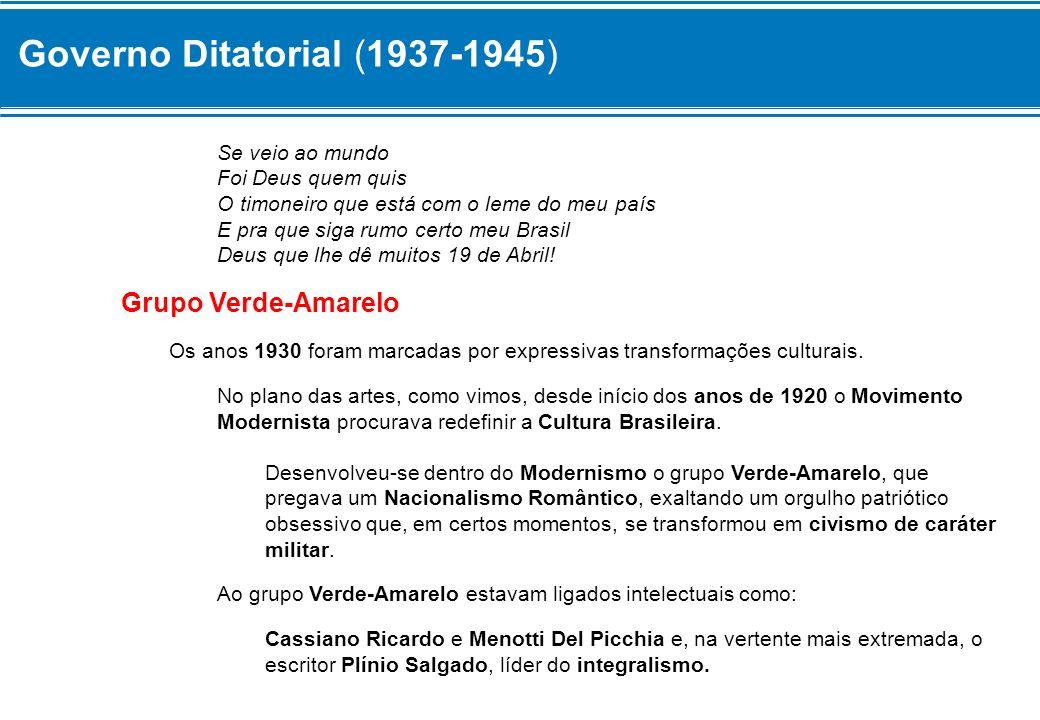 Governo Ditatorial (1937-1945) Essa corrente anti-democrática do nacionalismo foi, de certo modo, direcionada por Vargas para a Ditadura do Estado Novo.