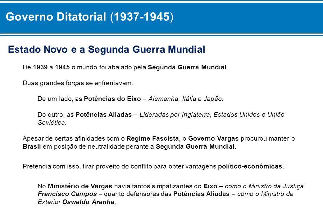 Governo Ditatorial (1937-1945) Apoio aos Aliados A partir de 1941, o Governo Brasileiro começou a fazer acordos internacionais para apoiar os Aliados.