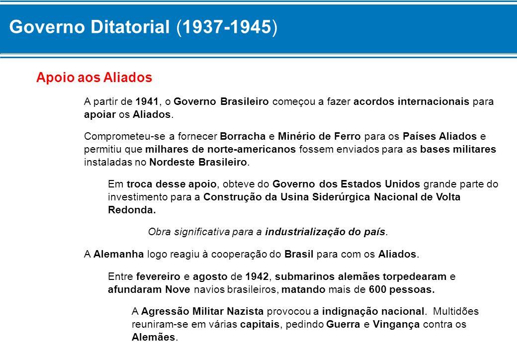 Governo Ditatorial (1937-1945) Em 31 de agosto de 1942, o Governo Brasileiro Declarou Guerra às Potência do Eixo.