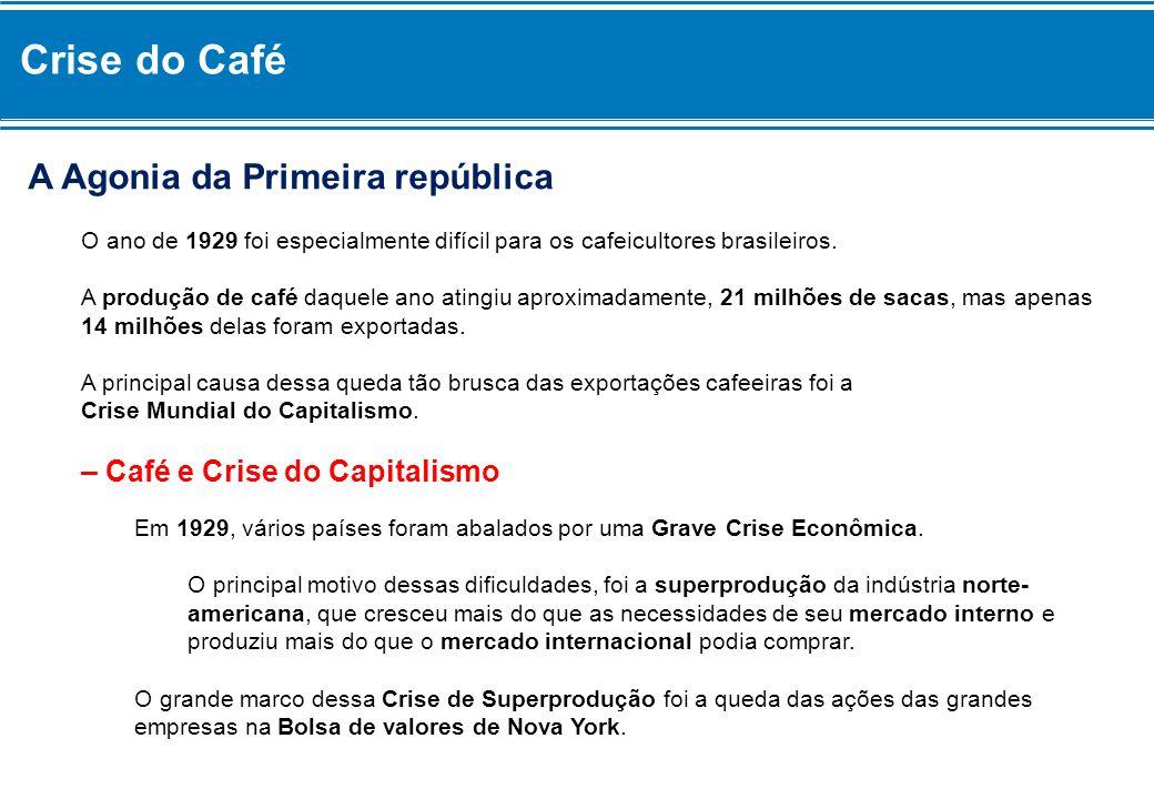 Crise do Café Como as ações perderam quase todo o seu valor, empresas e bancos foram à falência e Milhões de Trabalhadores norte-americanos ficaram desempregados.