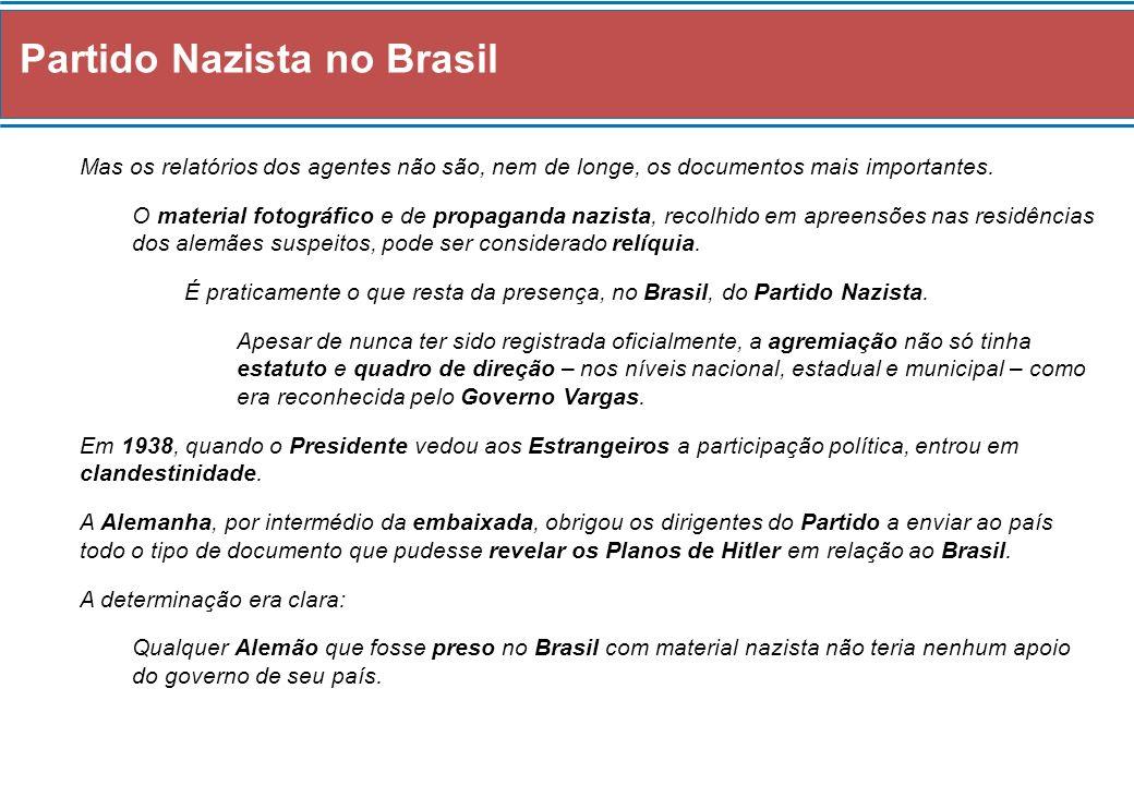 Partido Nazista no Brasil A medida não impediu que a polícia política paulista apreendesse desde cartilhas da juventude hitlerista até órgãos oficiais do Partido Nazista no Brasil, como o jornal Deutscher Morgen, ou Aurora Alemã.
