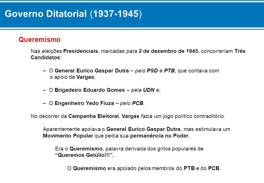 Governo Ditatorial (1937-1945) Lei Antitruste Aproveitando esse momento de Prestígio Popular, em Junho de 1945, o Governo decretou a Lei Antitruste, que limitava a entrada de Capital Estrangeiro no Brasil.