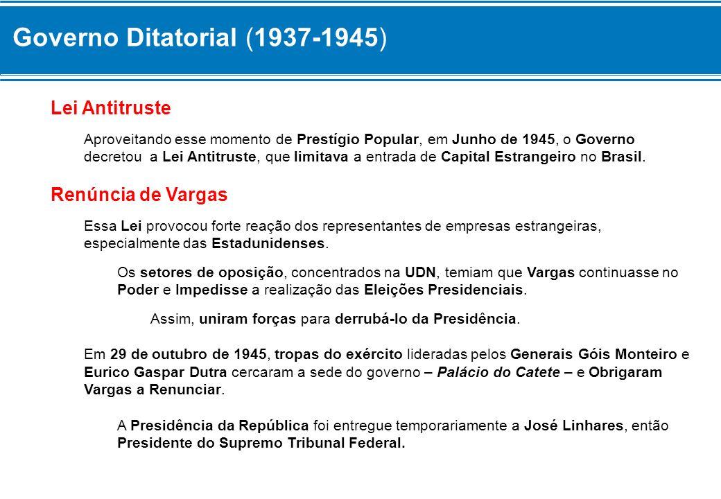 Governo Ditatorial (1937-1945) Era o fim do Estado Novo.