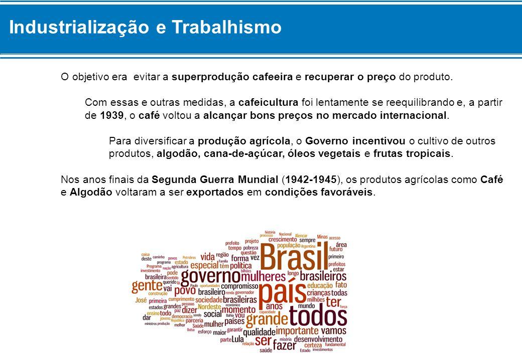 Industrialização e Trabalhismo Industrialização Além de diversificar a produção agrícola, o Governo Vargas preocupou-se em estimular o desenvolvimento industrial.