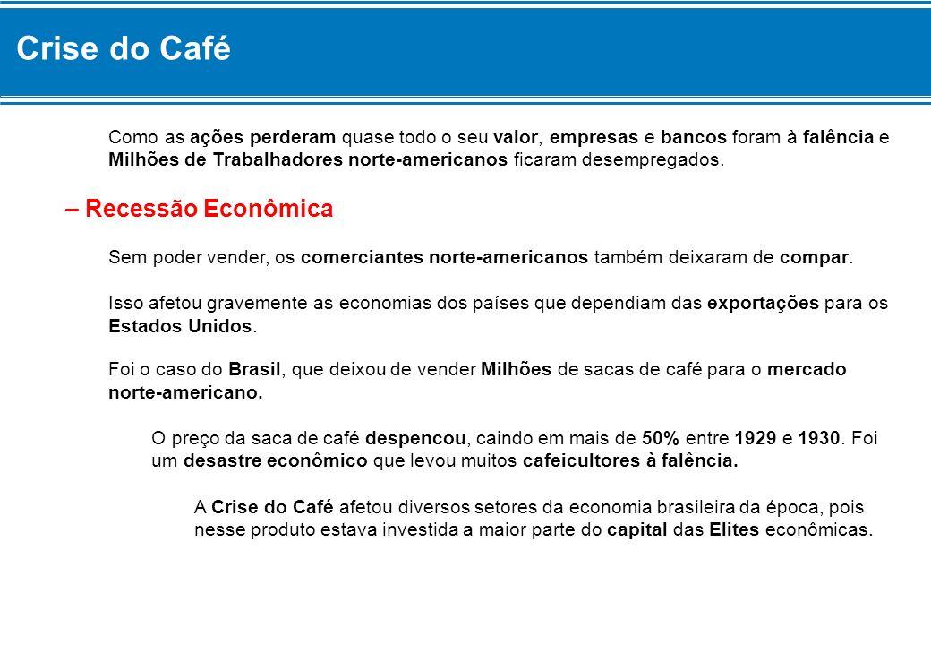 Crise do Café A cafeicultura era a atividade econômica mais dinâmica, pelo valor de sua exportação e por toda a importação que custeia.