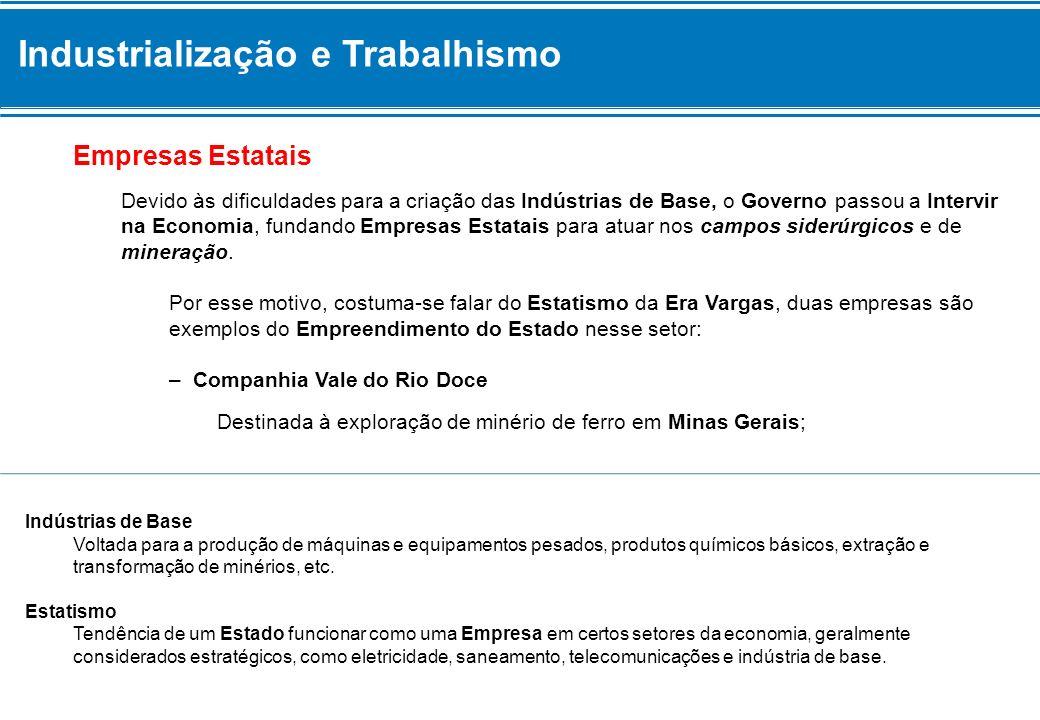 Industrialização e Trabalhismo – Companhia Siderúrgica Nacional (CSN) Instalada a partir da construção da Usina de Volta Redonda, no Rio de Janeiro.