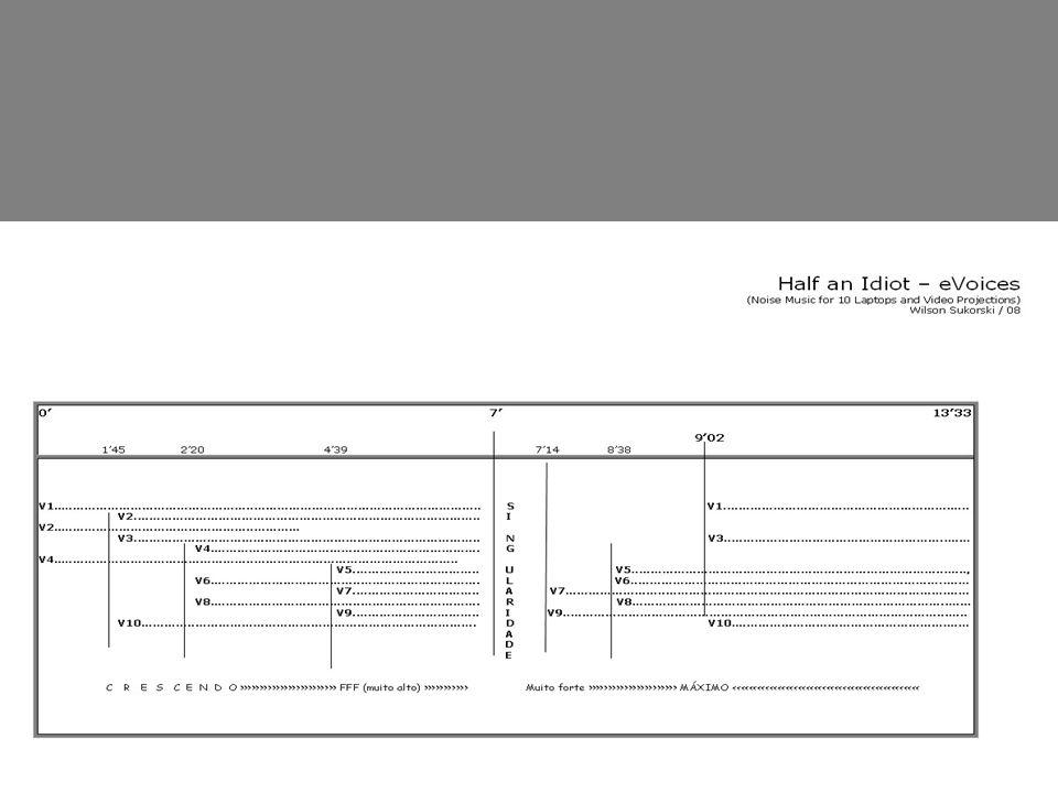 05 Sensor Dance (4) Música criada com o resultado de momentos lidos em 8 sensores e 12 disparadores instalados no palco.