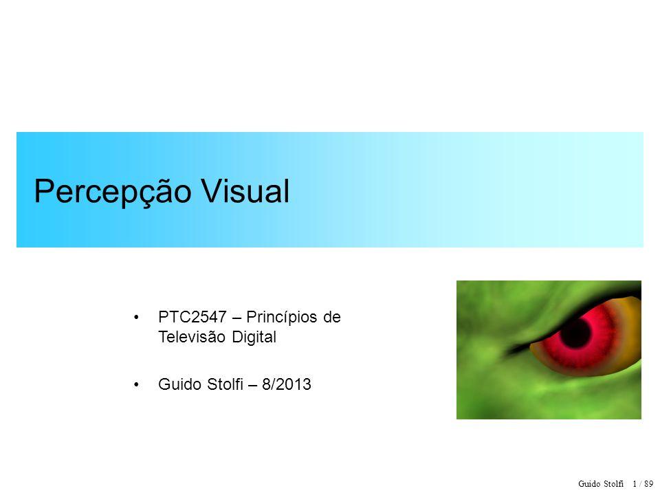 Guido Stolfi 2 / 89 Percepção Visual Elementos de Neurologia: impulsos nervosos Fisiologia do Olho Humano Características da Visão Mecanismo da formação da imagem Percepção de Intensidade e Fator Gama Resolução Espacial Resolução Temporal e Cintilação Percepção de Movimento Percepção de Distância Ilusões Ópticas