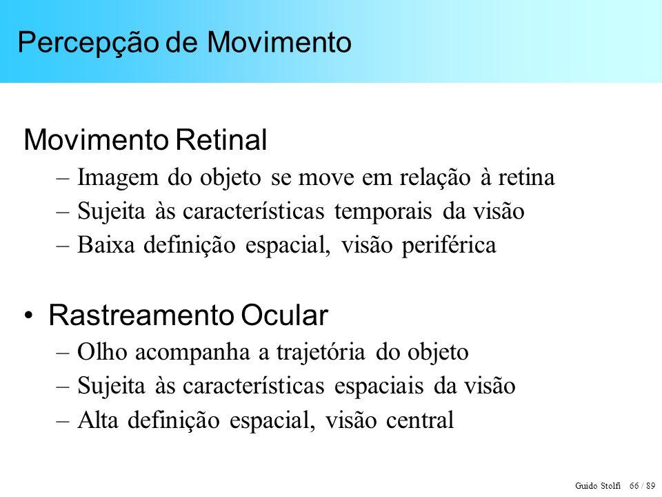 Guido Stolfi 67 / 89 Movimento Retinal e Rastreamento Ocular