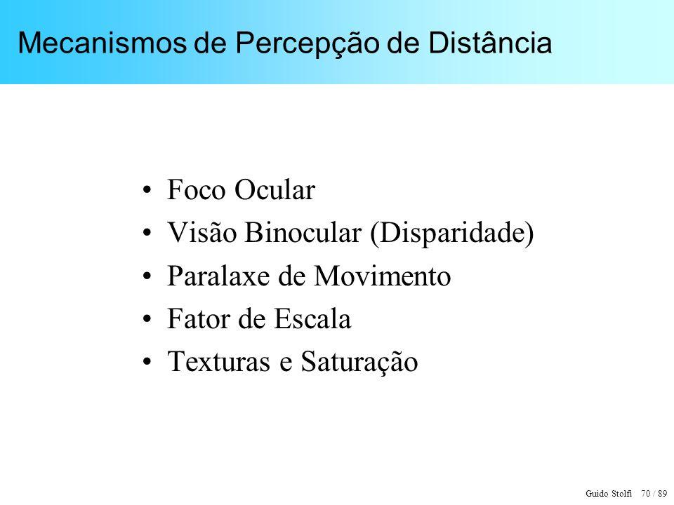 Guido Stolfi 71 / 89 Foco Ocular Informação intensa para curtas distâncias (< 1m)