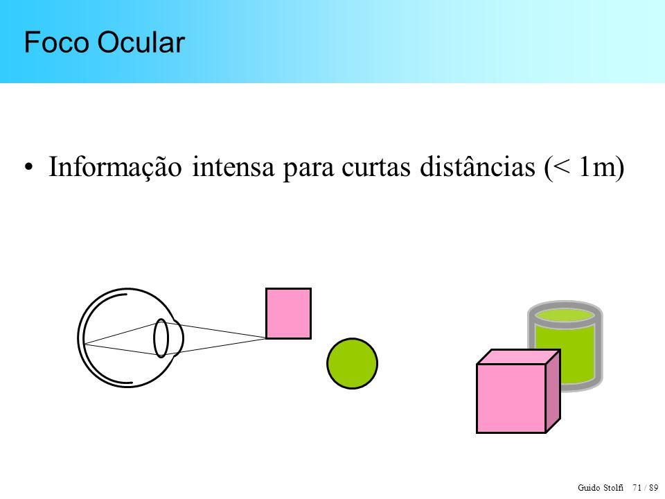 Guido Stolfi 72 / 89 Visão Binocular Informação fortíssima para curtas distâncias (dentro do alcance físico); decresce até distâncias médias (< 100 m)