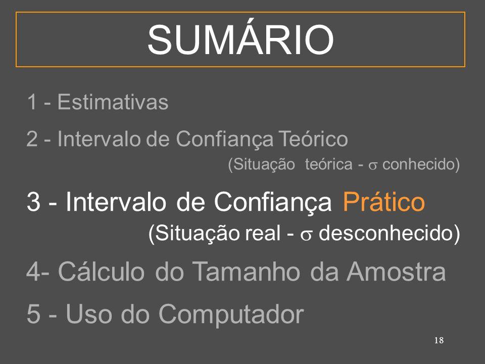 19 3 - Intervalo de Confiança Prático É a estimativa intervalar para a qual só dispomos de UMA ÚNICA amostra e nada mais.