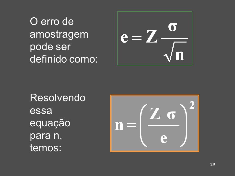 30 Como podemos determinar o tamanho da amostra n a partir de um valor de desvio padrão desconhecido.