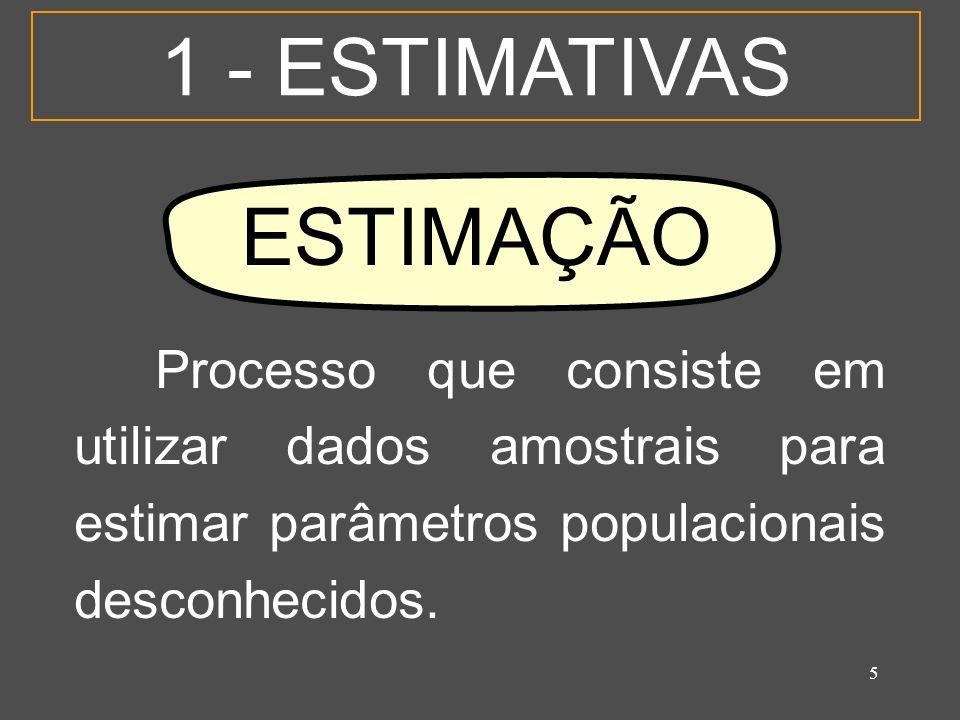 6 1 - ESTIMATIVAS O resultado da estimação é chamado de ESTIMATIVA.