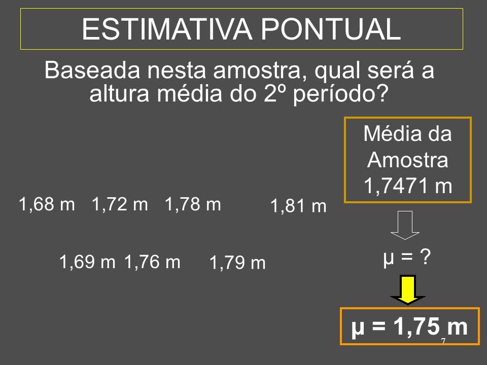 8 ESTIMATIVA INTERVALAR 1,69 m1,76 m 1,79 m 1,68 m1,72 m1,78 m 1,81 m Média da Amostra 1,7471 m µ = .