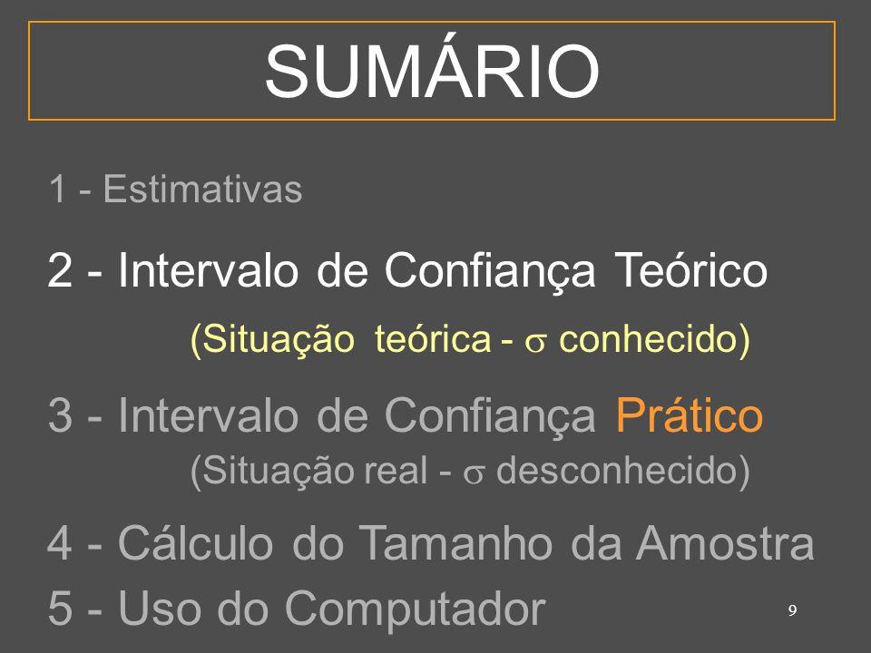 10 2 - Intervalo de Confiança Teórico É a estimativa intervalar que parte do pressuposto, pouco realista, de que o estimador tem conhecimento da dispersão da população ( ).