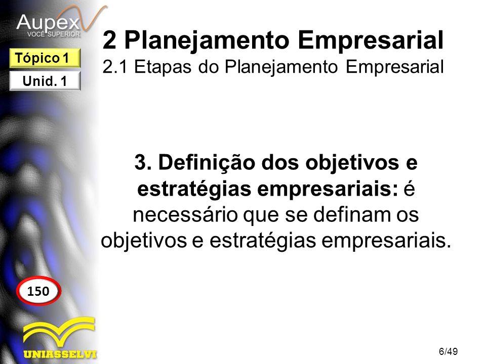 2 Planejamento Empresarial 2.1 Etapas do Planejamento Empresarial 4.