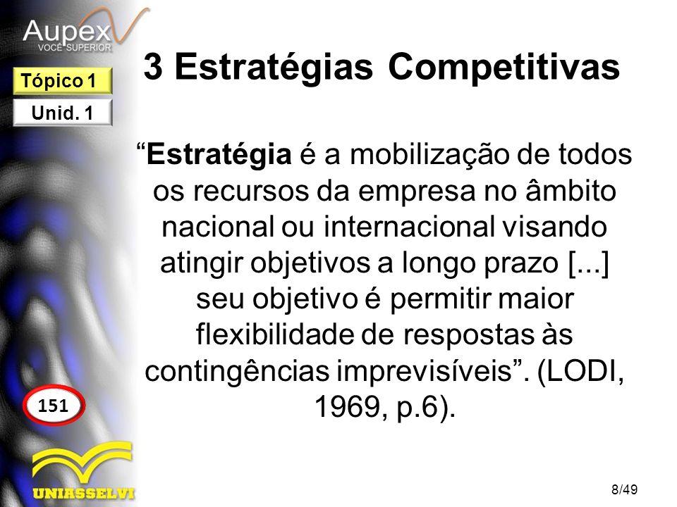 3 Estratégias Competitivas Uma estratégia organizacional pode ser definida como uma forma de maximizar seus ganhos de maneira sustentável, oferecendo aos clientes um valor maior do que o proposto pelos concorrentes.