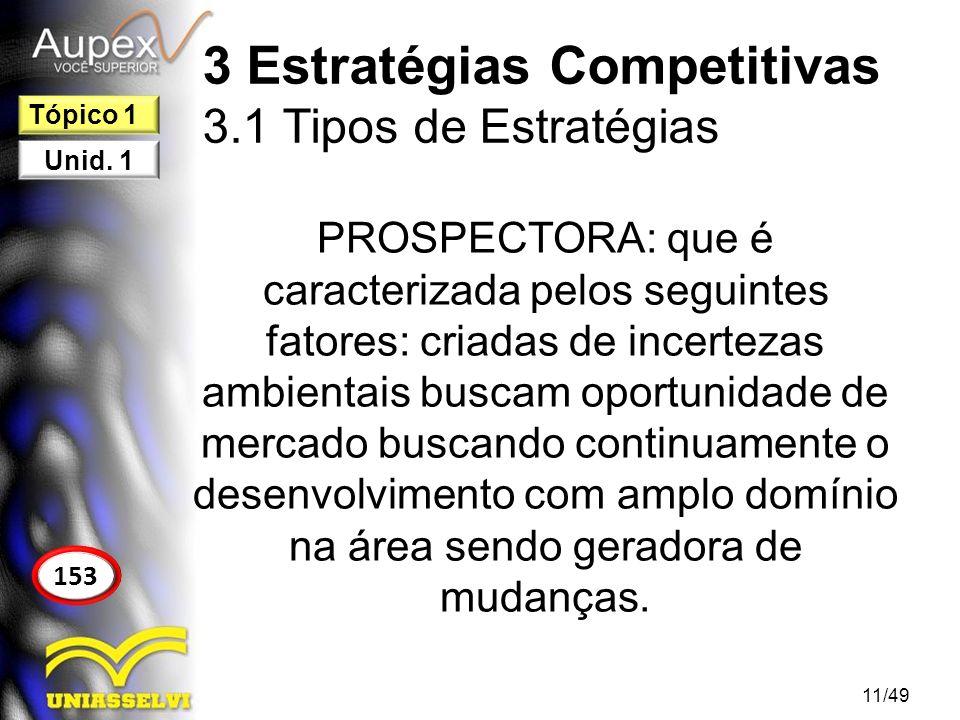3 Estratégias Competitivas 3.1 Tipos de Estratégias ANALISTA: é o tipo de estratégia que opera em um determinado segmento, tendo dois tipos de produtos/serviços sendo um totalmente estável e o outro em constante mudança.