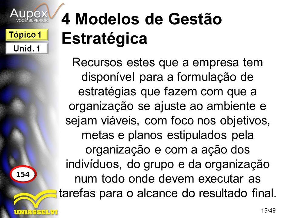 4 Modelos de Gestão Estratégica Ler o estudo de caso da página 154 e responder as perguntas na página 156 em sala.