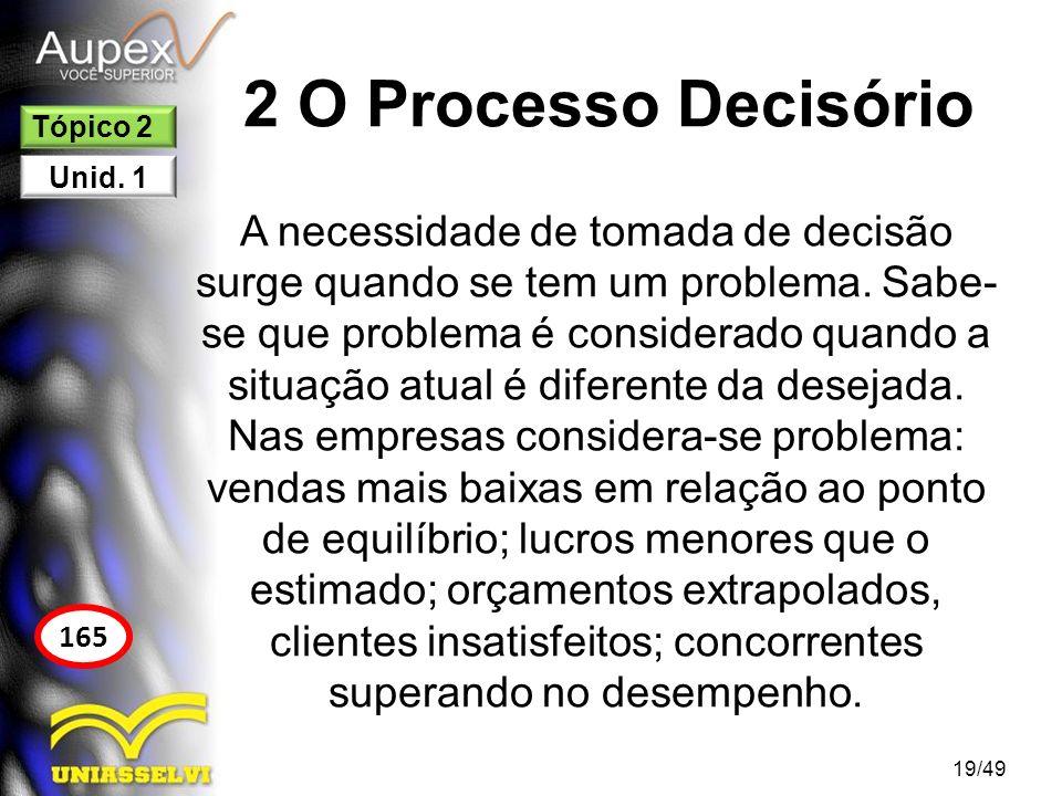 2 O Processo Decisório A tomada de decisão é um processo de escolha de uma solução entre as alternativas disponíveis, onde o gestor deve fazer a melhor escolha levando em consideração os objetivos propostos pela organização.