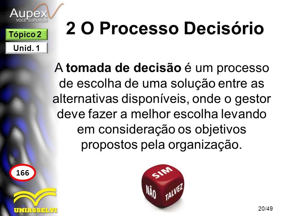 2 O Processo Decisório 2.1 Etapas do Processo Decisório 1.Definir o problema; 2.Identificar os critérios de decisão; 3.Ponderar os critérios; 4.Gerar linhas de ação alternativas; 5.Avaliar cada alternativa; 6.Quantificar a decisão ótima.