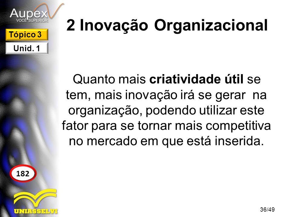 2 Inovação Organizacional 2.1 A Importância da Inovação Você tem noção de como a tecnologia estará sendo aplicada daqui a 20 anos nas organizações.