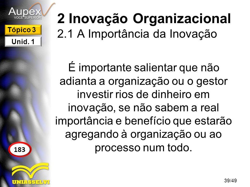 3 Gerenciamento da Inovação A organização que não consegue enxergar a inovação como fator competitivo está com sério problema.