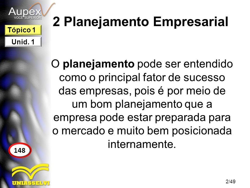 2 Planejamento Empresarial As ações elaboradas no planejamento devem ser analisadas em cenários distintos para evitar possíveis ameaças inesperadas.