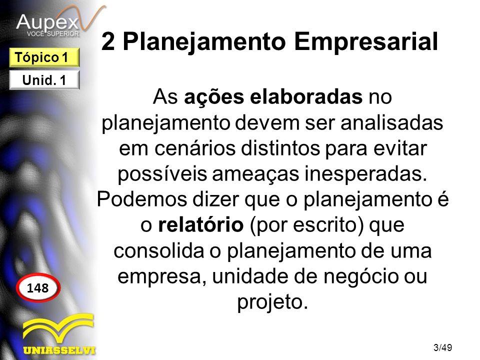 2 Planejamento Empresarial 2.1 Etapas do Planejamento Empresarial 1.