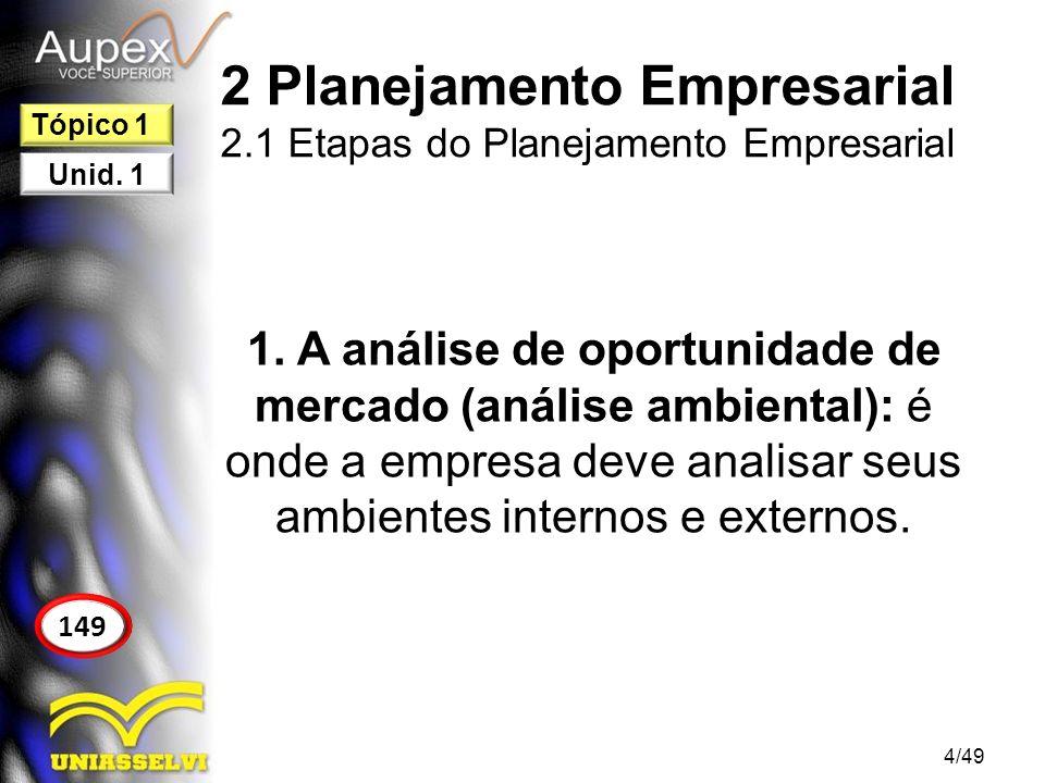 2 Planejamento Empresarial 2.1 Etapas do Planejamento Empresarial 2.