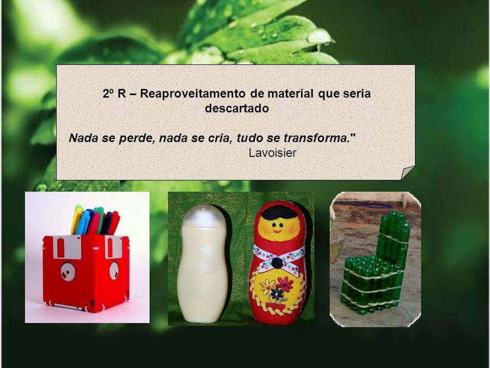 3º R – Reciclar Preserva florestas nativas; Reduz a extração dos recursos naturais; Diminui a poluição Economiza energia e água; Conserva o solo; Diminui o lixo nos aterros e lixões; Prolonga a vida útil dos aterros sanitários; Diminui os custos da produção, com o aproveitamento de recicláveis pelas indústrias; Diminui o desperdício; Melhora a limpeza e higiene da cidade; Previne enchentes; Diminui os gastos com a limpeza urbana.