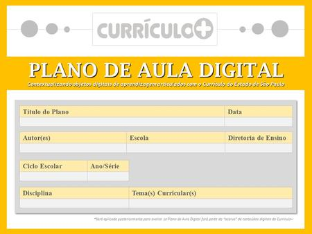 PLANO DE AULA DIGITAL Título do Plano Data Autor(es) Escola