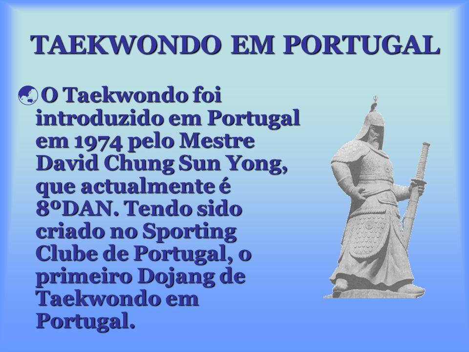 TAEKWONDO EM PORTUGAL O Taekwondo foi introduzido em Portugal em 1974 pelo Mestre David Chung Sun Yong, que actualmente é 8ºDAN.