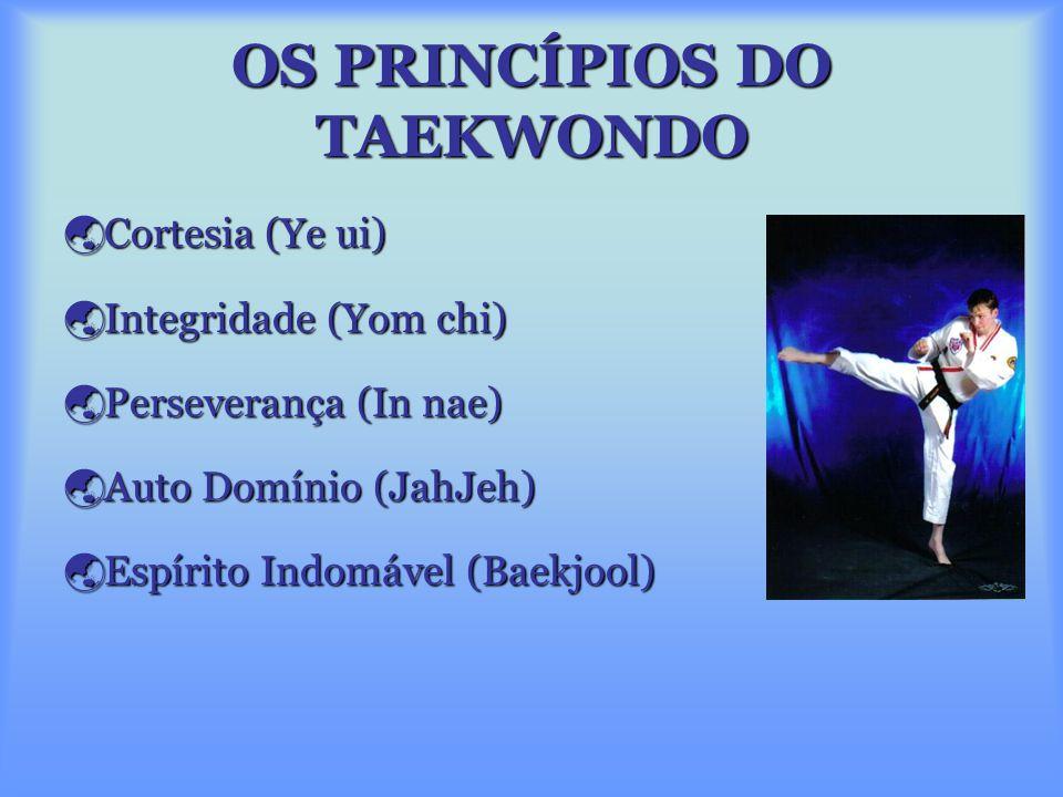 OS PRINCÍPIOS DO TAEKWONDO  Cortesia (Ye ui)  Integridade (Yom chi)  Perseverança (In nae)  Auto Domínio (JahJeh)  Espírito Indomável (Baekjool)
