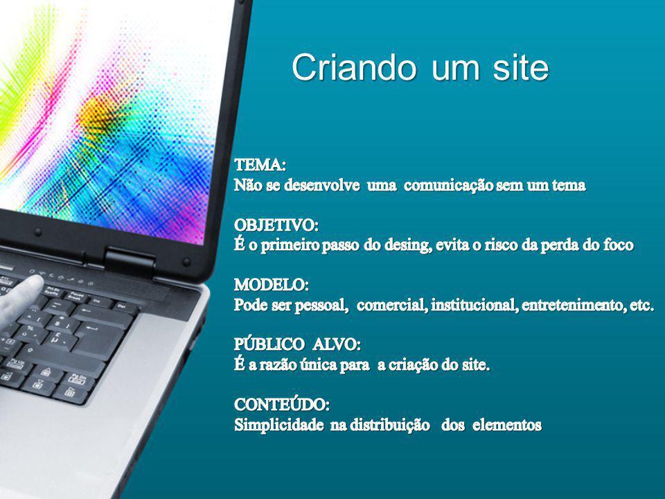 O Visual de um site A cor A cor A cor A cor O layout O layout Tipos gráficos Tipos gráficos Legibilidade Legibilidade Imagens Imagens